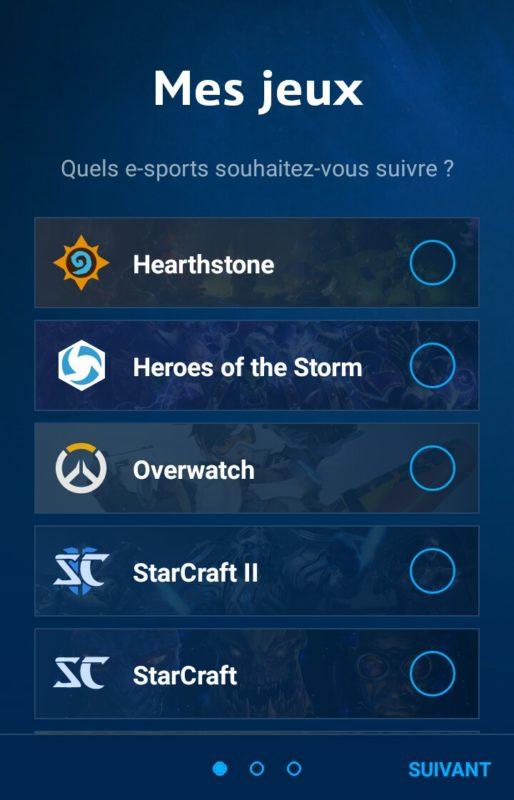 Application Blizzard eSport choix des jeux