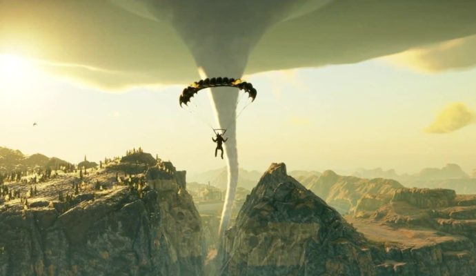 Just Cause 4 Rico face à une tornade