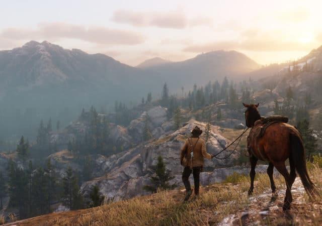 Red Dead Redemption 2 Arthur contemple le décor