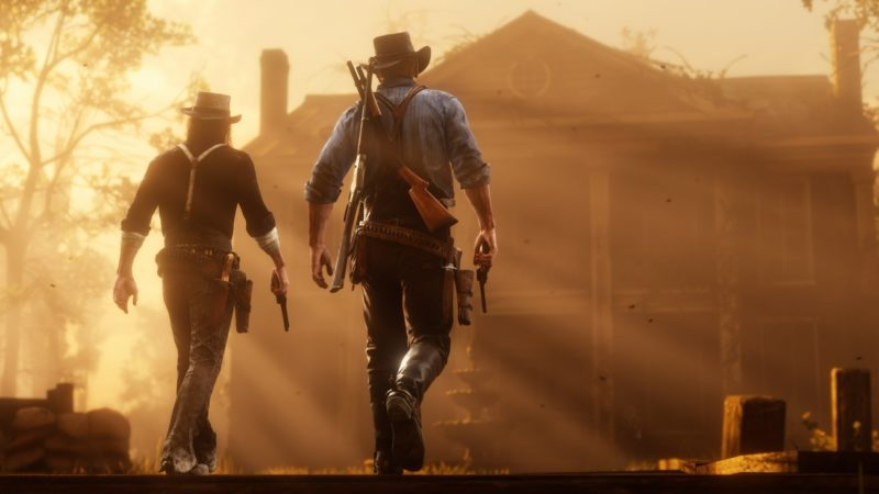Red Dead Redemption 2 - Cowboy, couché de soleil, maison