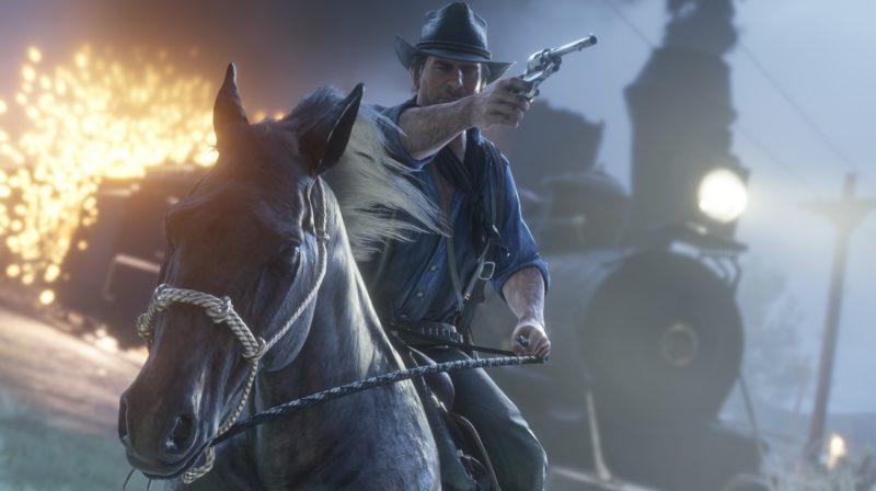 Red Dead Redemption 2 - feu, cheval, fusillade
