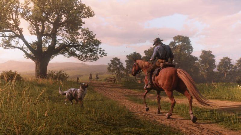 Red Dead Redemption 2 - grand espace, cheval, chien