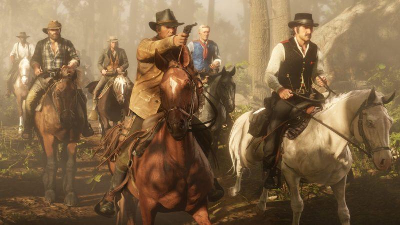 Red Dead Redemption 2 - attaque, chevaux, bois