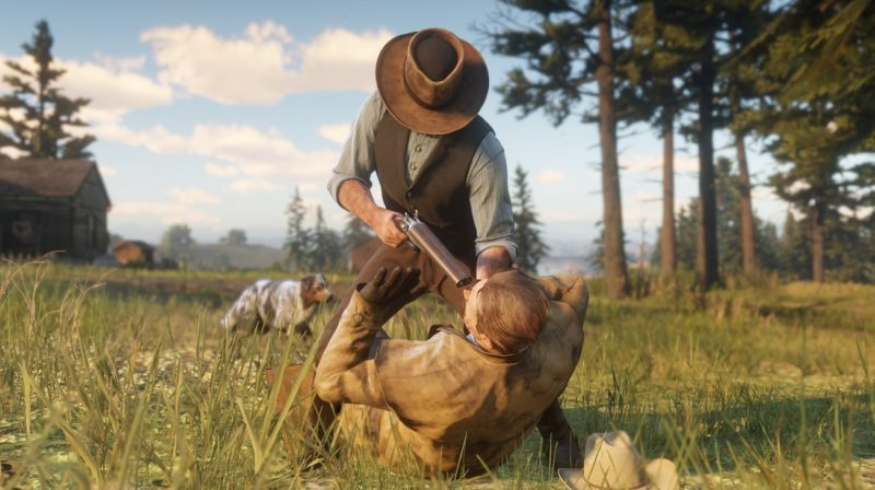 Red Dead Redemption 2 - menace, prairie, arbres