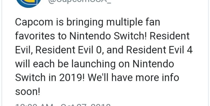 Resident Evil - Tweet annonce Switch