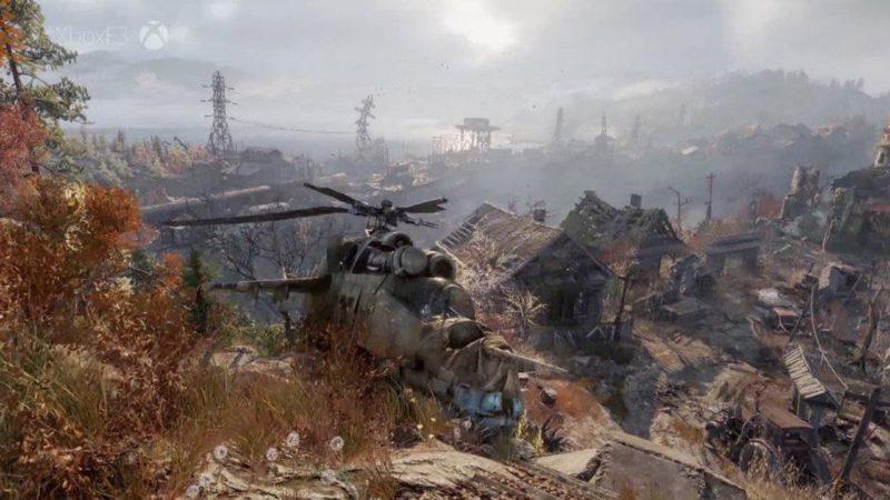 Metro Exodus ce qu'il reste d'un hélicoptère dans ce paysage dévasté