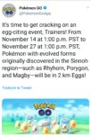 Pokémon GO - événement oeuf novembre 2018