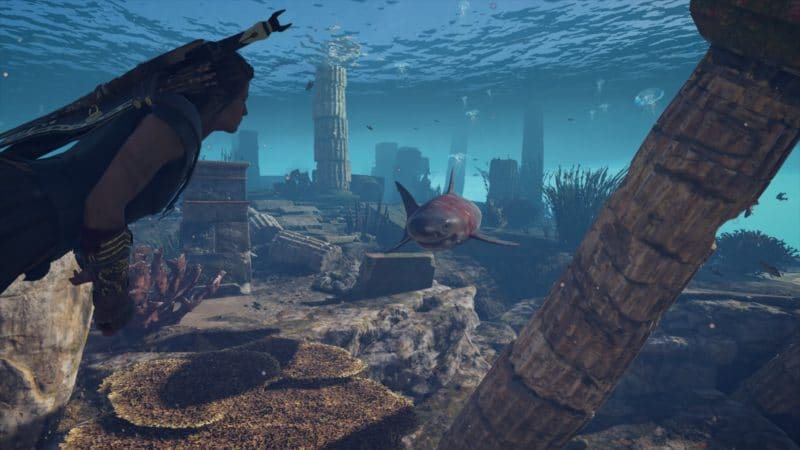 Assassin's Creed Odyssey nager avec des requins