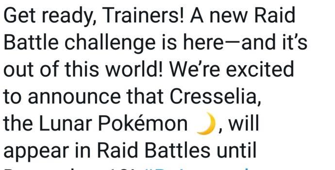 Pokémon GO - Annonce Twitter Cresselia