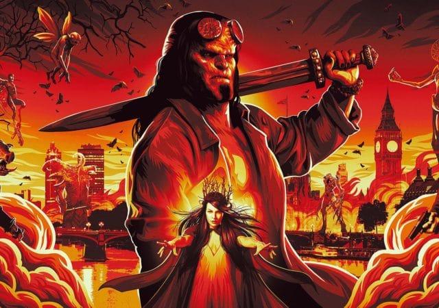 Hellboy affiche du film avec des monstres et la Reine de Sang