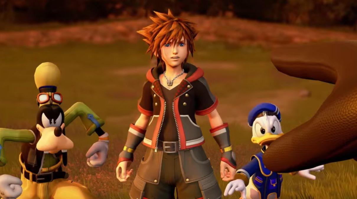 Kingdom Hearts III Sora Dingo et Donald pointés du doigt