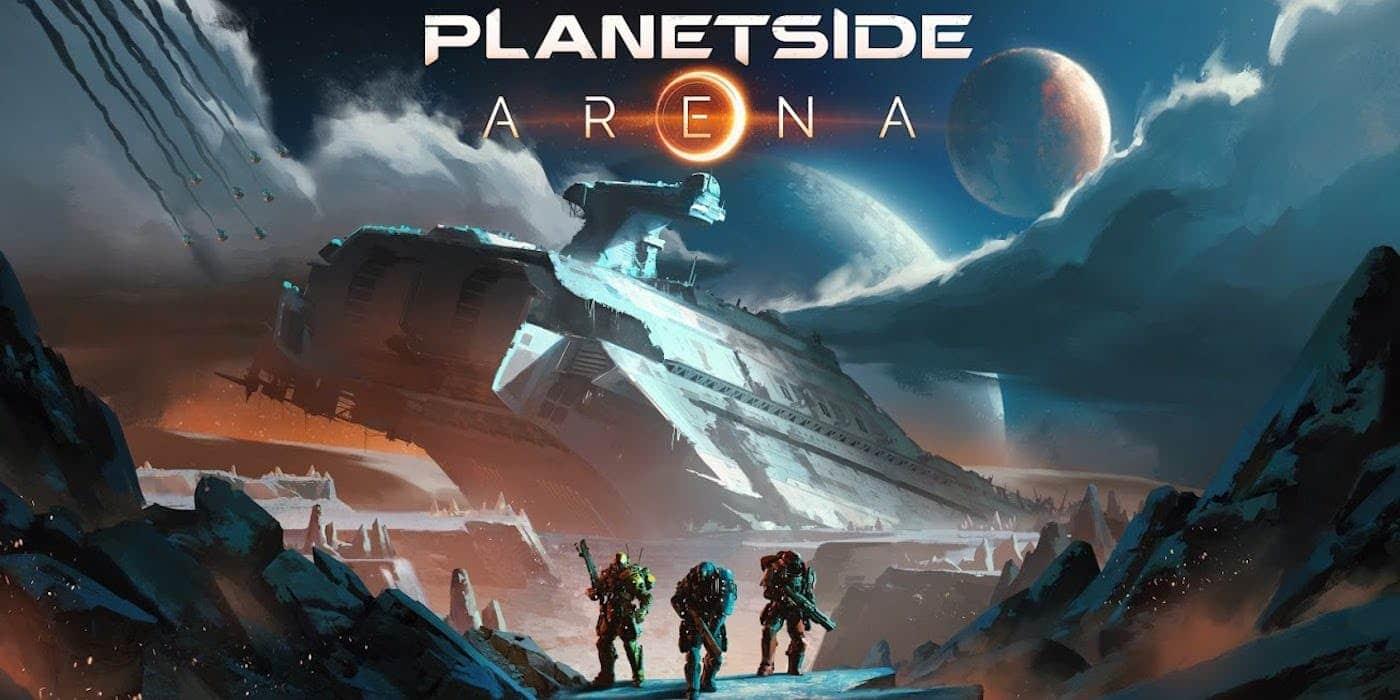 PlanetSide Arena titre Heros devant vaisseau