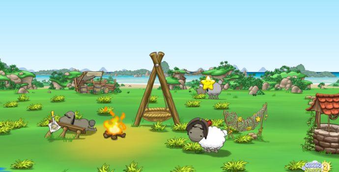 Clouds and Sheep 2 - mouton autour du feu sur l'ile au trésor