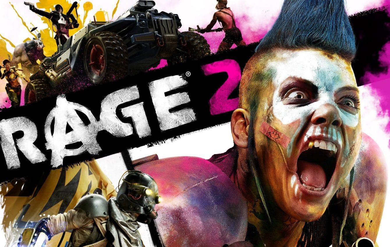 Rage 2 titre avec autour une femme qui hurle, des soldats, des vehicules