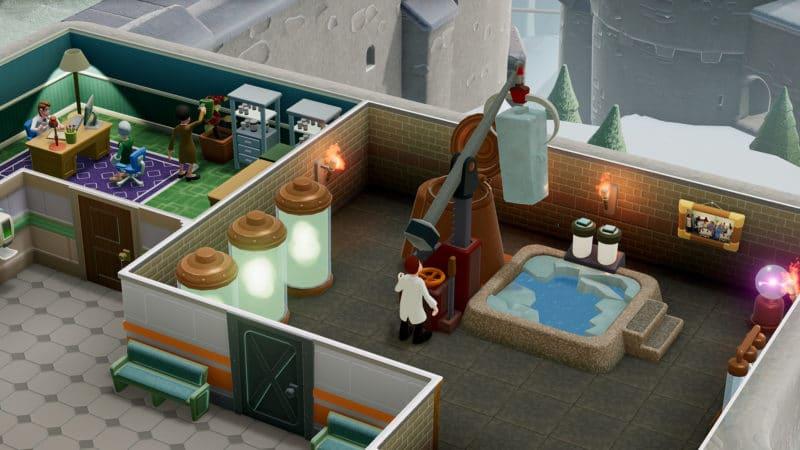two point hospital big-foot : personnage utilisant les machines du jeu