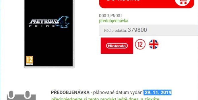 Metroid Prime 4 date de sortie
