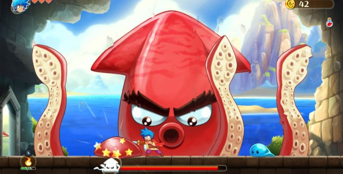 Monster Boy et le Royaume Maudit boss poulpe