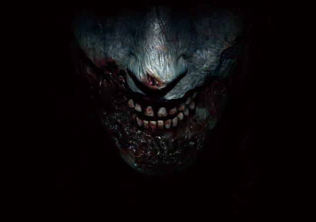 pochette du jeu Resident Evil 2 avec la moitié d'un visage de zombie