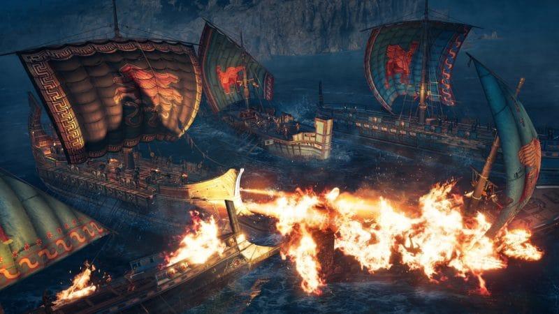 assassin's creed odyssey l'héritage de l'ombre bataille navale feu