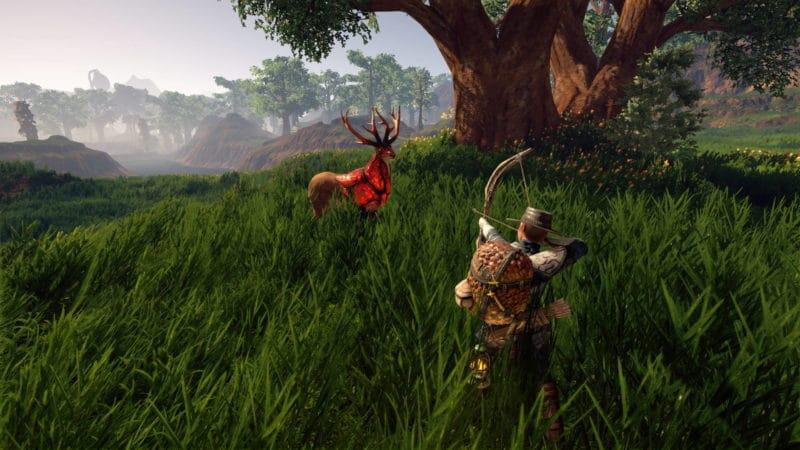Outward notre héro contre un cerf aux allures magiques