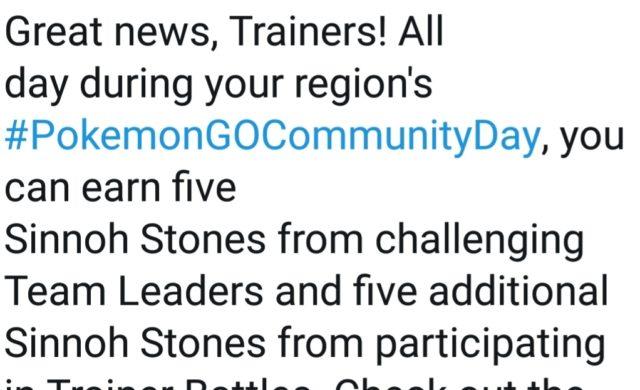 Pokémon GO - Pierre Sinnoh événement tweet 16 février