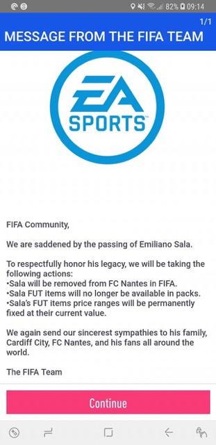 fifa 19 message retrait emiliano sala