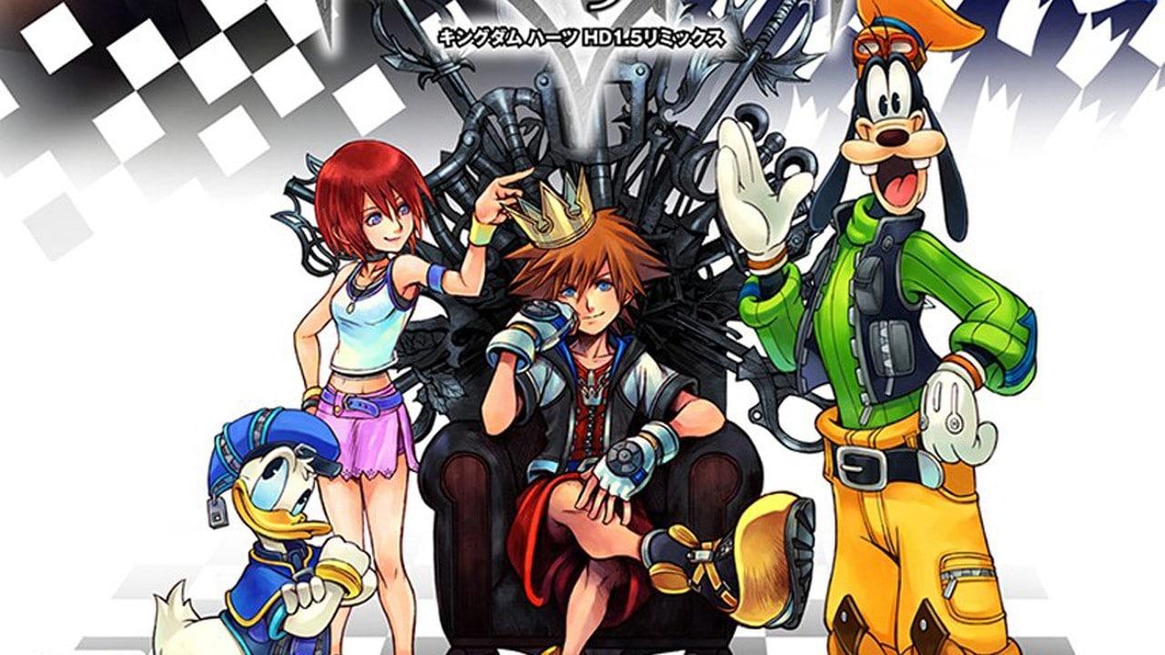 Kingdom Hearts III Sora sur son trone accompagné de Kairi Donald et Dingo
