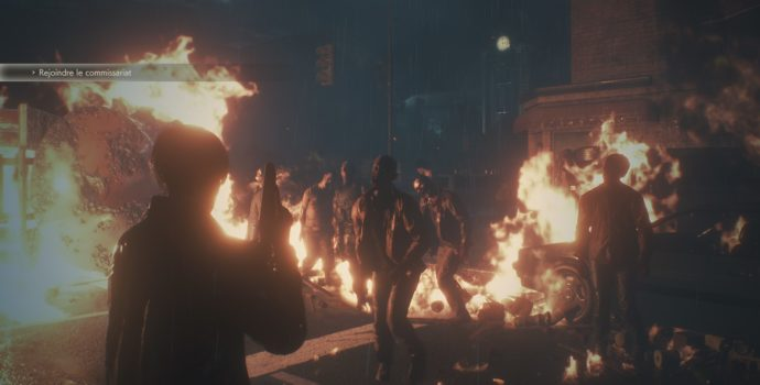 resident evil 2 zombies flammes