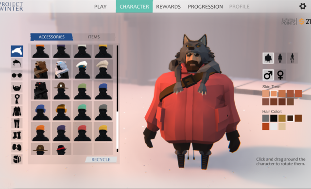 project winter screenshot création personnage