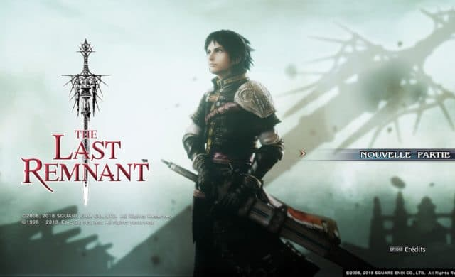 écran titre du jeu The Last Remnant Remastered sur PlayStation 4
