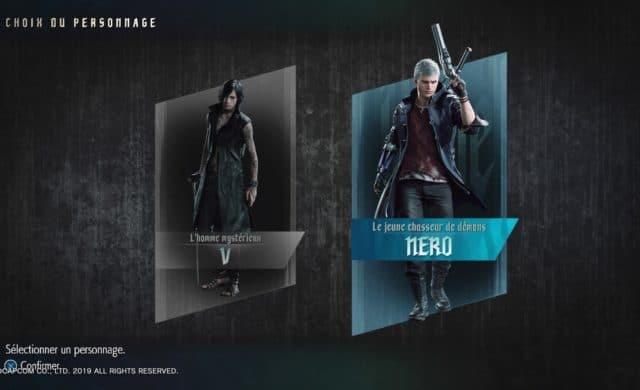 Devil May Cry 5 Sélection de personnages