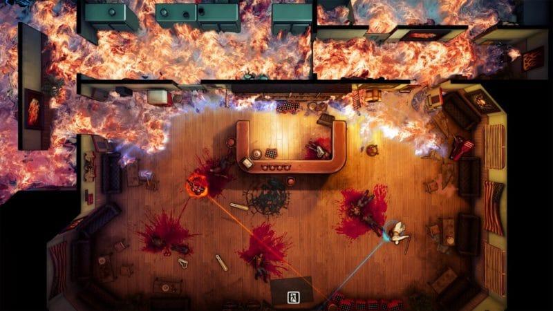 God's Trigger screen capture décors en feu