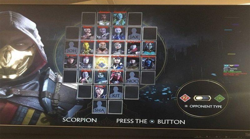 Mortal Kombat XI Ecran de selection personnage