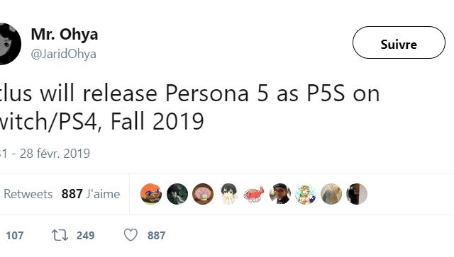 Persona - Persona 5S tweet