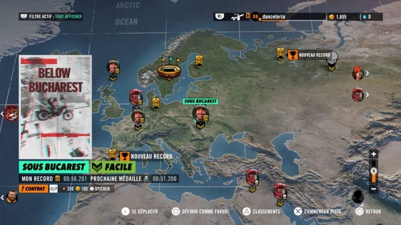 Test Trials Rising - Carte du monde