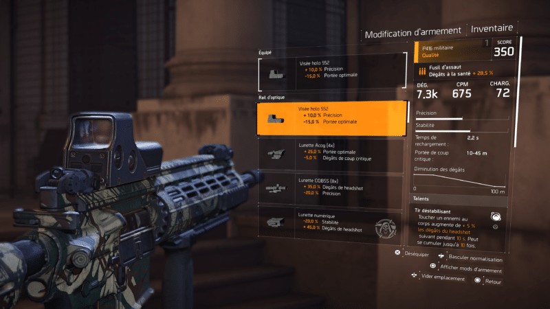 test the division 2 mods armes