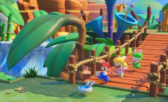 Mario et les lapins crétins traversent un pont