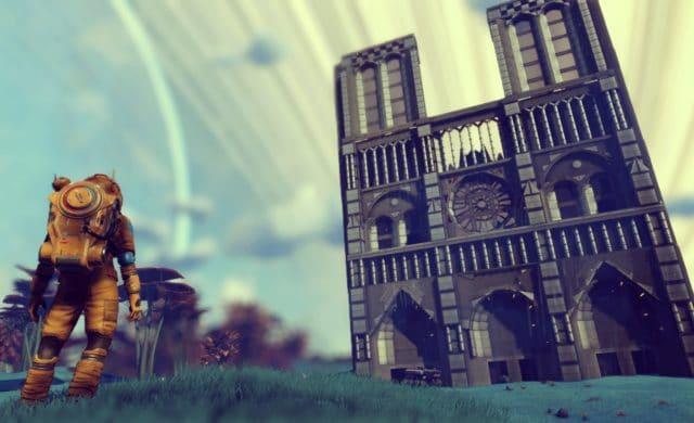 No Man's Sky cathédrale notre dame façade et joueur