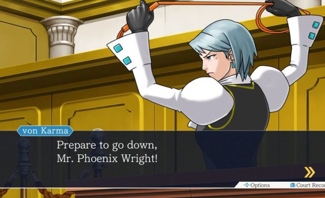 Phoenix Wright Ace Attorney Trilogy - Von Karma et son fouet