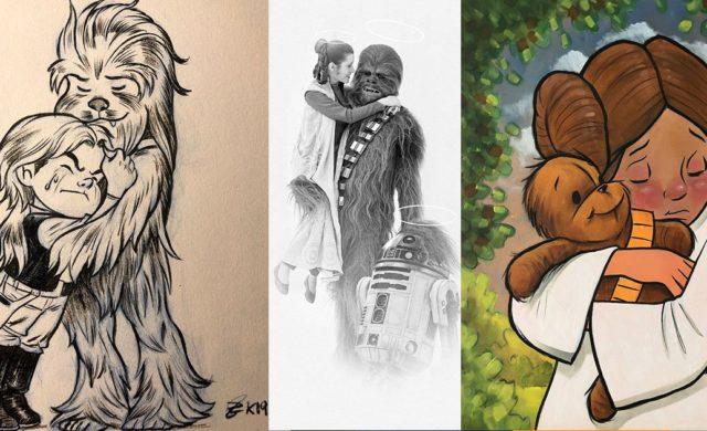 Star Wars décès Peter Mayhew dessin hommage