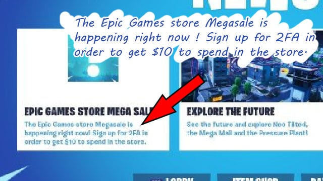 Epic Games Store Soldes 10$ 2FA