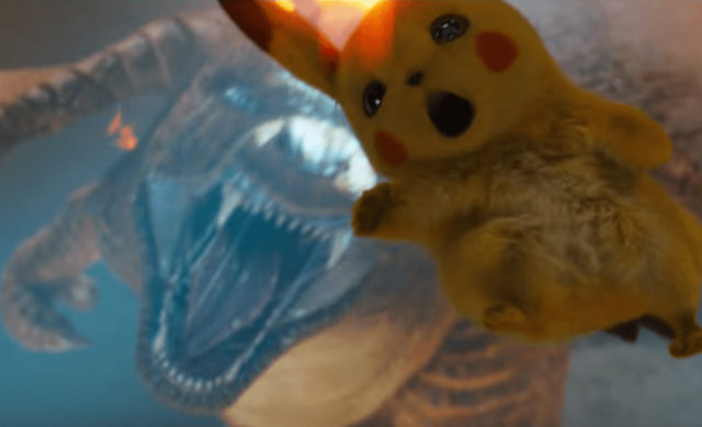 Détective Pikachu combat Pikachu versus Dracaufeu