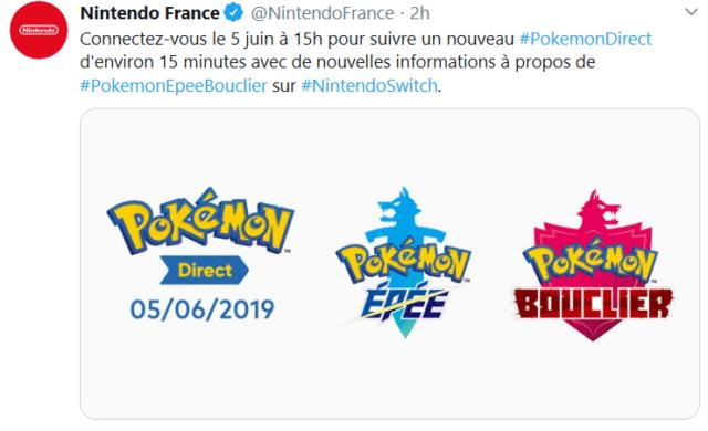Pokémon Épée/Bouclier - Tweet Nintendo Direct Juin
