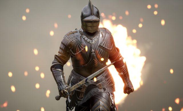 Chevalier de Mordhau sur fond de flammes