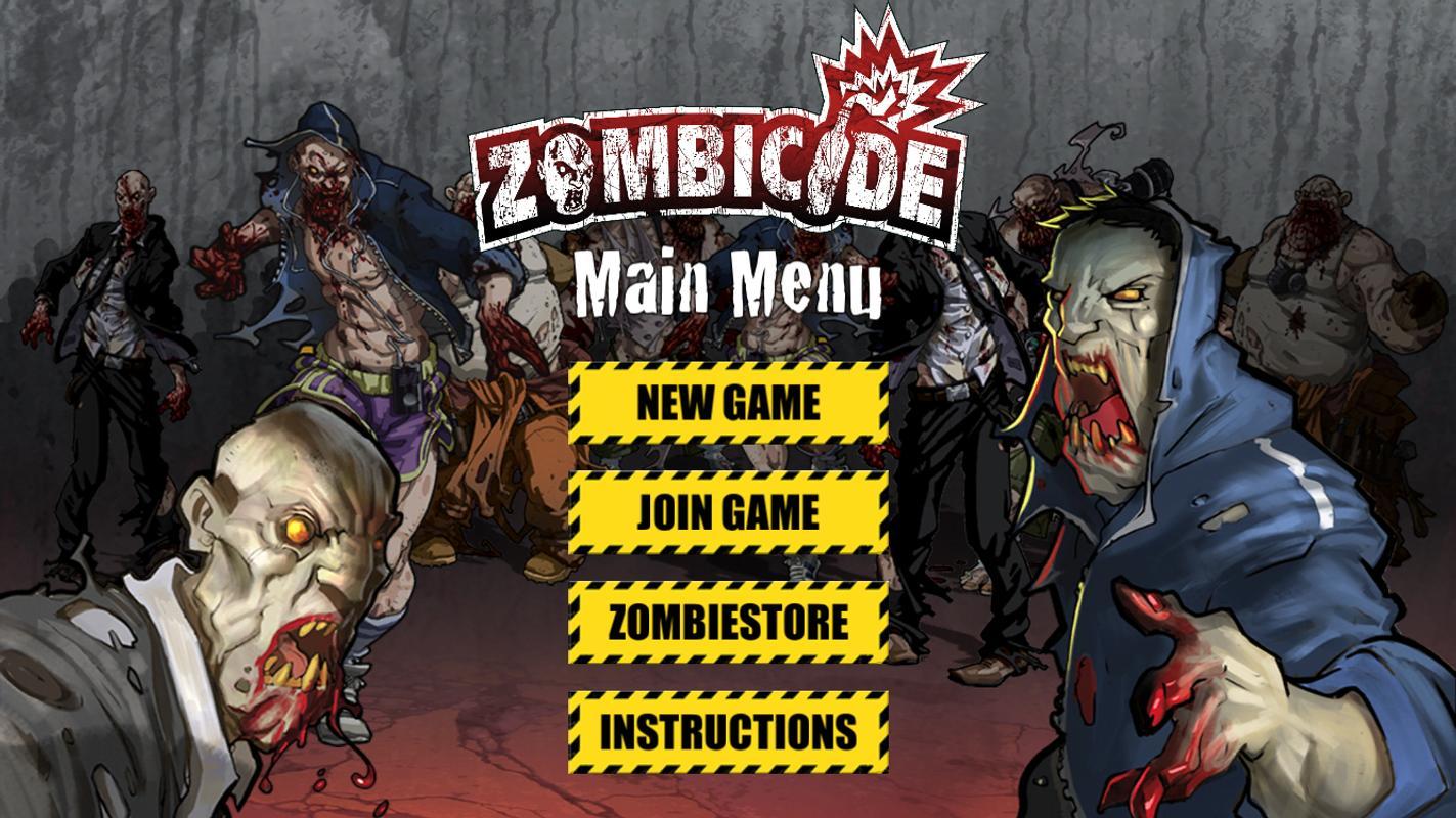 Zombicide menu