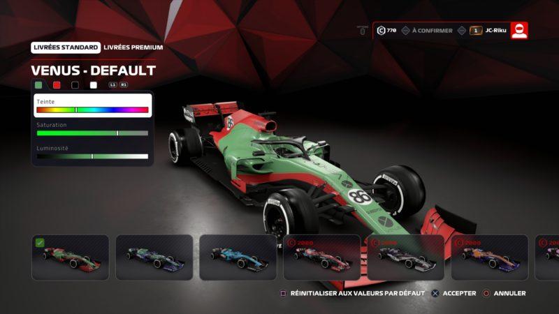 Test F1 2019 personnalisation moniplace