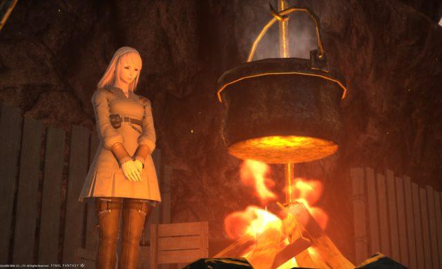 Final Fantasy XIV Shadowbringers - repas au feu de bois