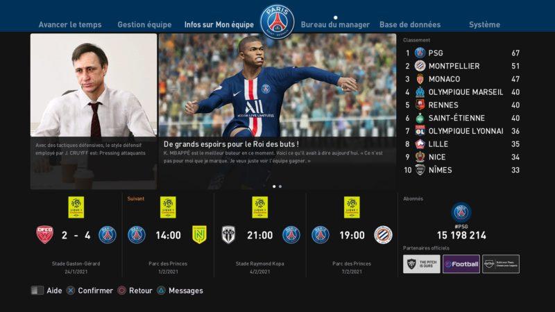 eFootball PES 2020 interface
