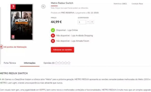 Metro Redux - Page boutique