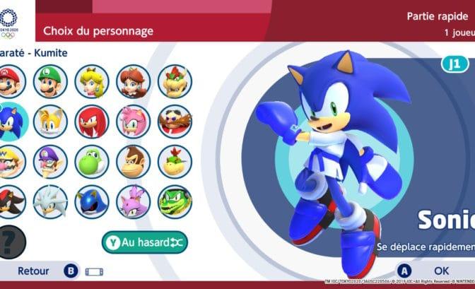 Mario & Sonic aux Jeux Olympiques Tokyo 2020 - Persos et Karatéka
